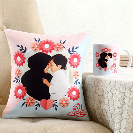 Personalised Pretty Cushion n Mug For Mom: Personalised Mothers Day Gifts