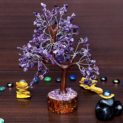 Purple Agate Stone Handcrafted Wishing Tree: Mother's Day Gifts
