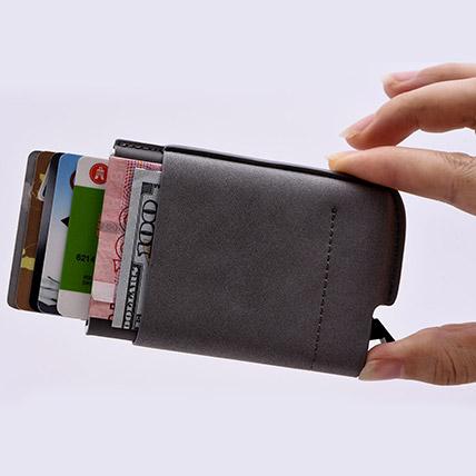 Black Credit Card Holder: Leather Wallet