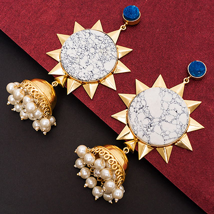 Gold Toned White Dome Jhumkas: Earrings for Women