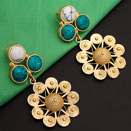 Turquoise Stones Drop Earrings: Accessories