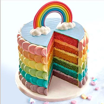 Fondant Rainbow Vanilla Buttercream Cake: