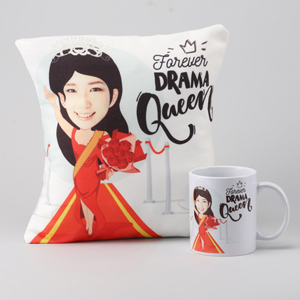 Forever Drama Queen Personalised Cushion & Mug: Girlfriends Day Gifts