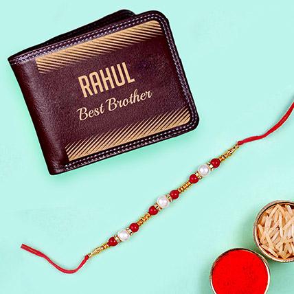 Pearl Rakhi and Personalised Engraved Wallet: Rakhi