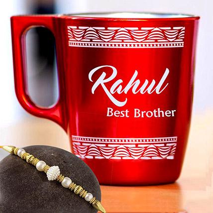 Golden Pearl Rakhi and Personalised Engraved Mug: Rakhi