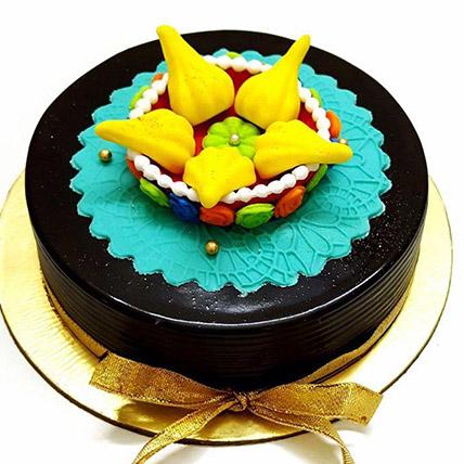 Modak Decoration Chocolate Cake - Eggless: Ganesh Chaturthi Gifts