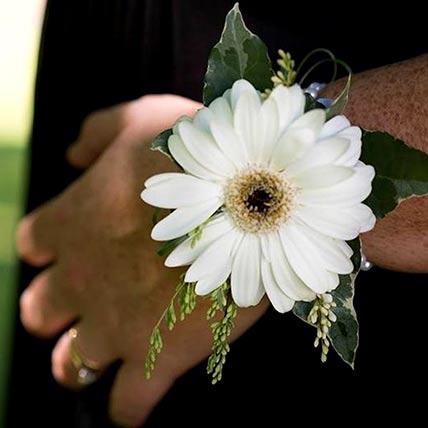 Gorgeous White Gerbera Corsage: