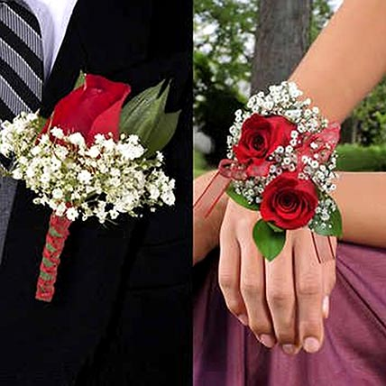 Red Roses boutonniere and Corsage: Floral Jewellery