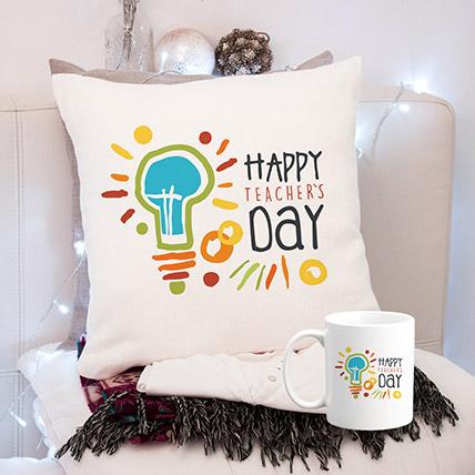 Happy Teachers Day White Cushion & Mug: Gifts On Teacher's Day