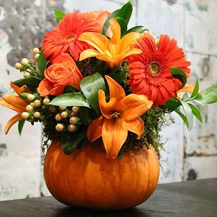 Pumpkin Floral Arrangement: Chinese New Year Gifts