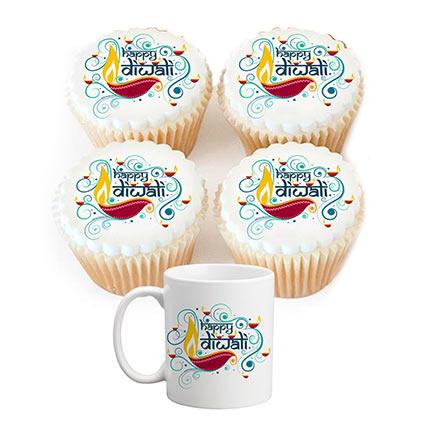 Combo of Diwali Mug and Cupcakes: Diwali Gifts
