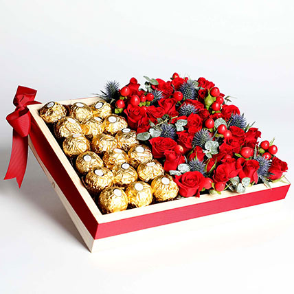 Exotic Roses and Chocolates Arrangement: Karwa Chauth Gifts
