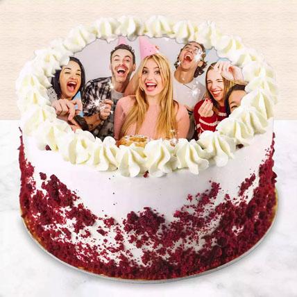 Red velvet Photo Cake For Birthday: Birthday Photo Cakes