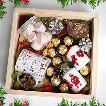 Christmas Wishes in Wooden Tray: New Year Gifts