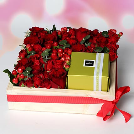 Patchi and Roses in Wooden Tray: Patchi Chocolates