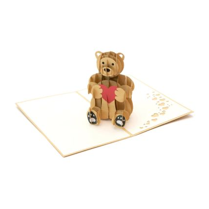 Teddy With Love Heart 3D Card: 3d Greeting Cards