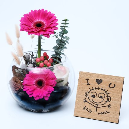Gerberas Dish Garden N Table Top: Mothers Day Gifts