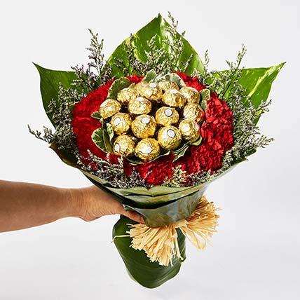 Delightful Carnations N Ferrero Rocher Bouquet: Carnation Flower Bouquet