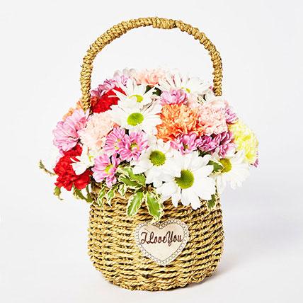Exotic Mixed Flowers Cane Basket Arrangement: Carnation Flower Bouquet