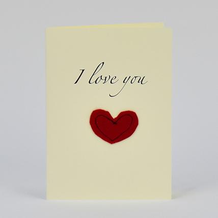 I Love You Red Heart Handmade Greeting Card: