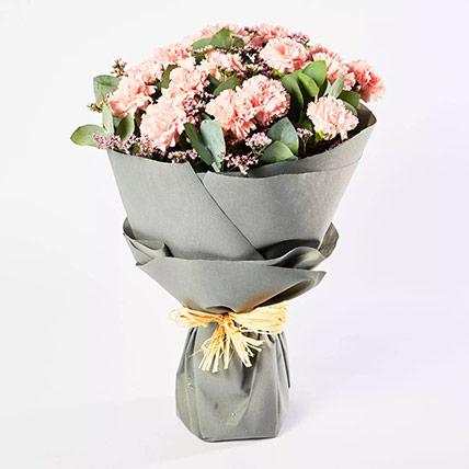 Peaceful Pink Carnations Bouquet: Carnation Flower Bouquet