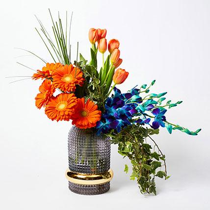 Vibrant Mixed Flowers Vase Arrangement: Luxury Flowers Dubai