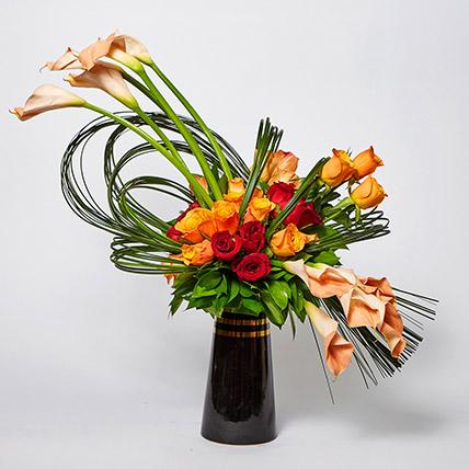Beautiful Mixed Flowers Black Vase Arrangement: