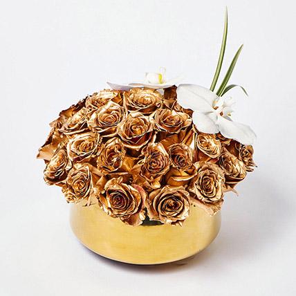 Delightful Gold Roses N Phalaenopsis Vase Arrangement: Eid Flowers
