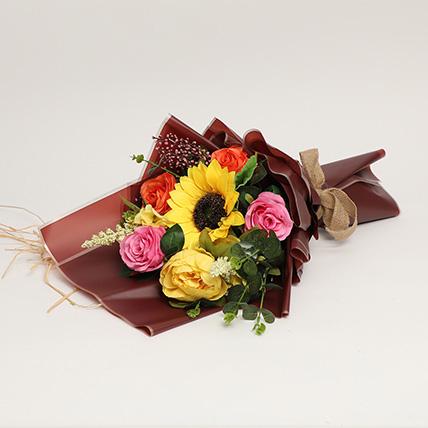 Vibrant Artificial Mixed Flowers Bouquet: Artificial Flowers Dubai