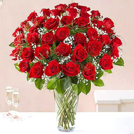 Bunch of 50 Scarlet Red Roses: Flowers for Husband