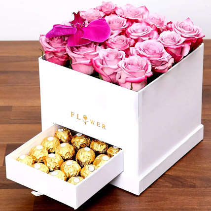 Hues Of Purple and Chocolates: Flower in a Box
