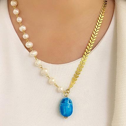 Scarab Pendant Necklace Blue: Artificial Jewellery