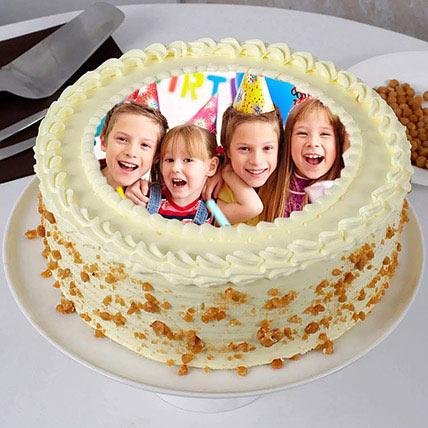 Butterscotch Birthday Photo Cake 500gm: Custom Cakes