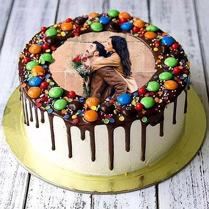 Chocolate Drip MNM Photo Cake For Anniversary: Custom Cakes