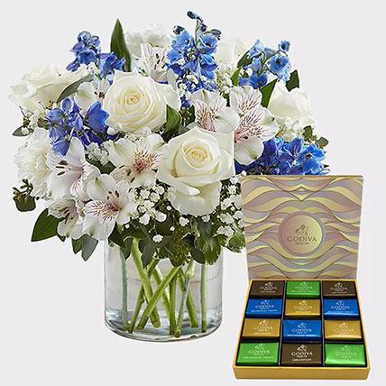 Royal Blooms and Godiva Chocolate Bar: Birthday Flowers & Chocolates
