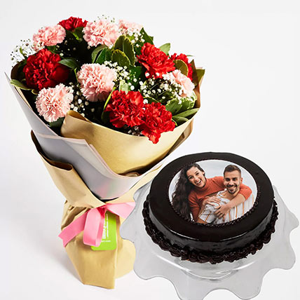 1 kg Chocolate Photo Cake With Carnation Bouquet: Anniversary Flowers & Cakes