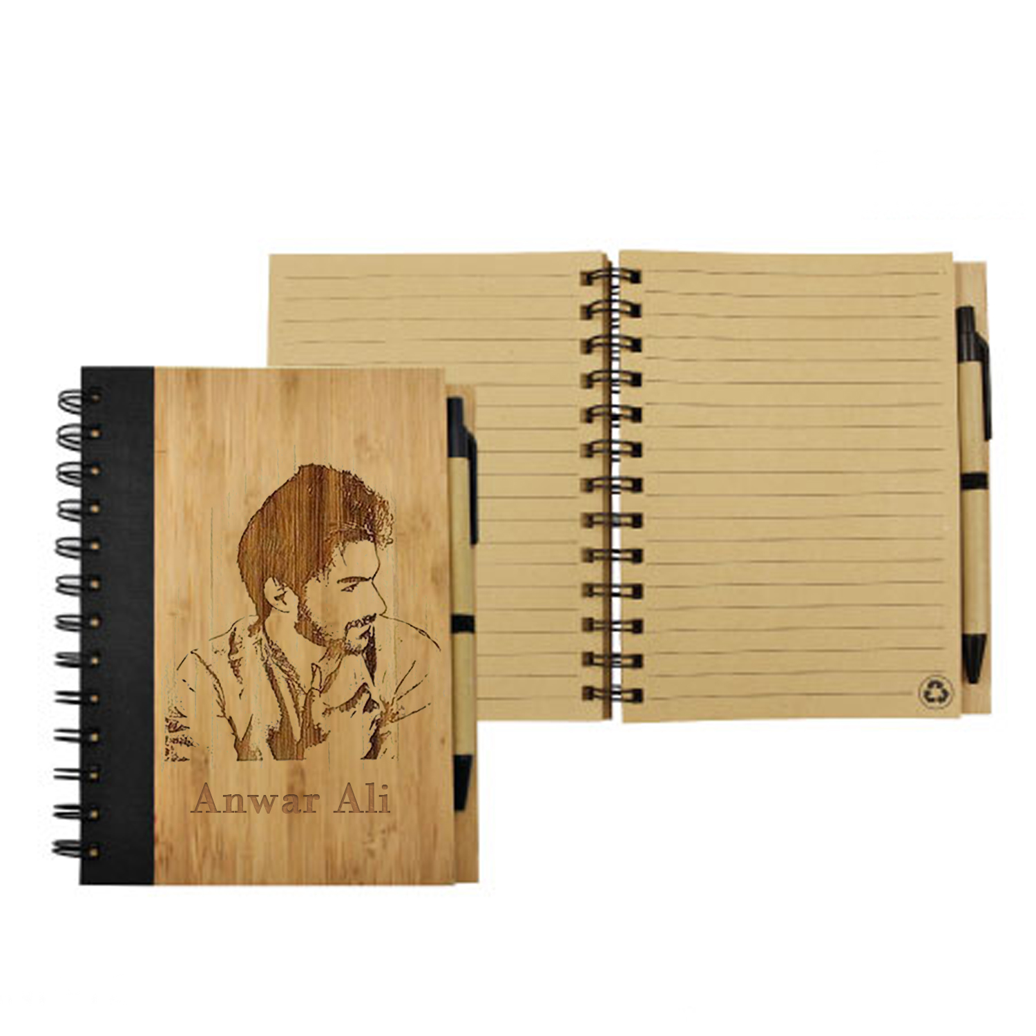 Photo Engraved Bamboo Notebook With Pen: Gifts for him