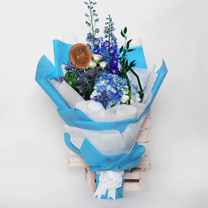 Beautifully Tied Blue N White Flowers Bouquet: Father's Day Bouquet