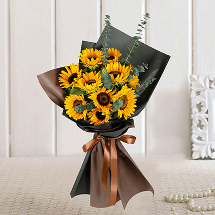 Charismatic Sunflowers Beautifully Tied Bouquet: Sunflowers Bouquets