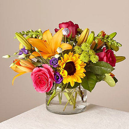 Heavenly Mixed Flowers Glass Vase: Get Well Soon Flowers