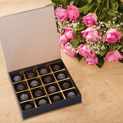 Pink Roses n Chocolate Truffles: Friendship Day Flowers