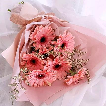Elegant Pink Gerberas Beautifully Tied Bouquet:
