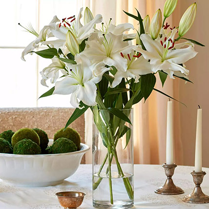 Happiness With Lilies Arrangement: Get Well Soon Flowers