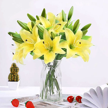 Oriental Charm Lilies Arrangement: Flower Arrangements