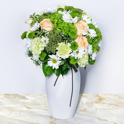 Pastel Perfection in White Vase: Get Well Soon Flowers