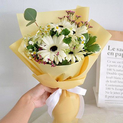 Peaceful White Gerberas Beautifully Tied Bouquet: