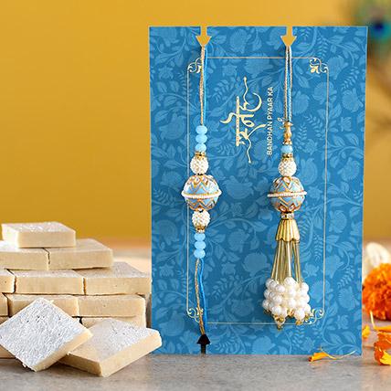 Blue Orb Pearl And Lumba Rakhi Set With Kaju Katli: Ethnic Rakhi