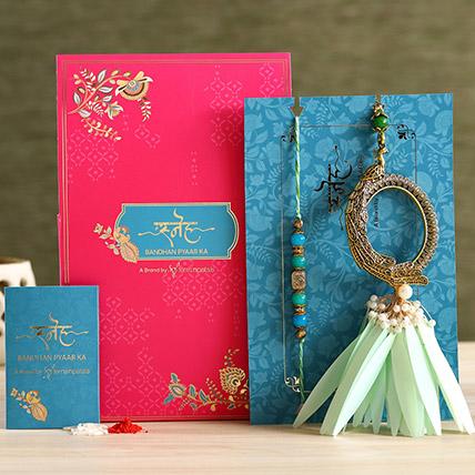 Feather And Pearl Designer Lumba Rakhi Set: Pearl Rakhi