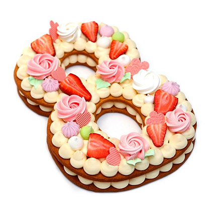 Number 8 Strawberries Decked Designer Cake: