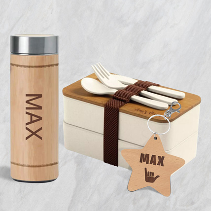 Engraved Lunch Box  with Bottle and Tag: Back to School Gifts